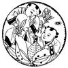 中国年画-两个童子和荷花构成的圆形图案图片