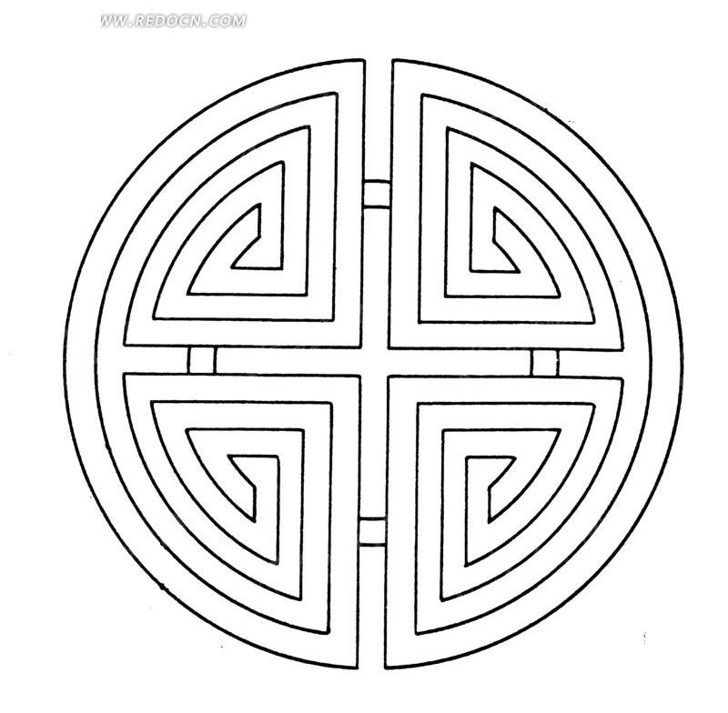 中国古典图案-变形文字构成的圆形图案