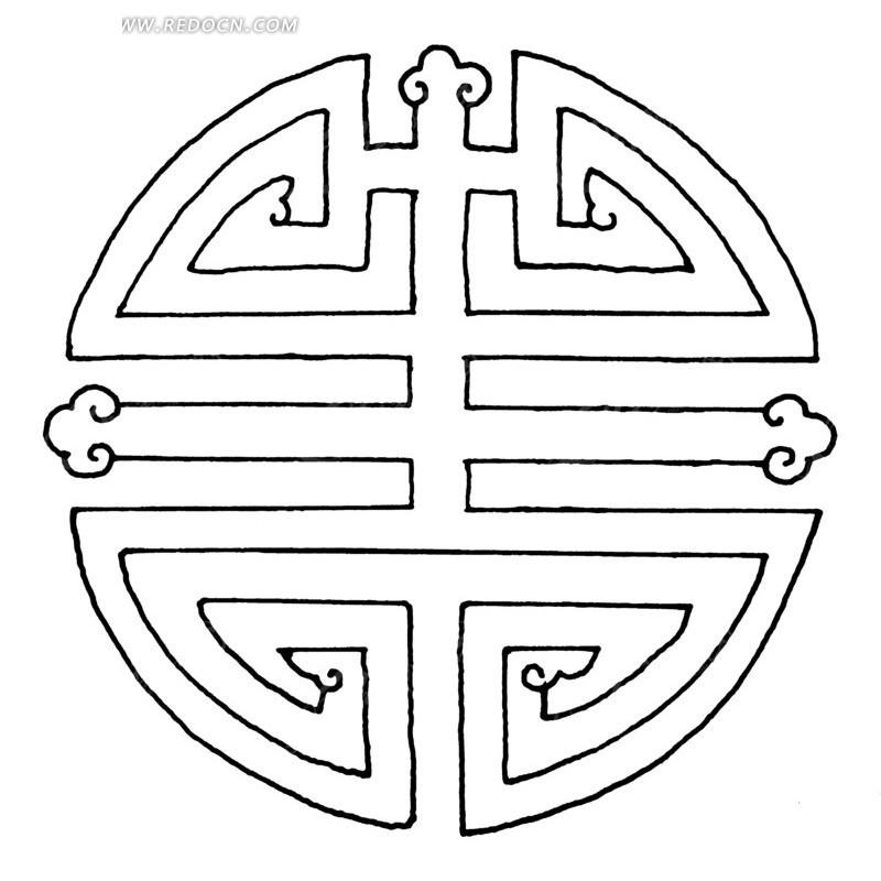 中国古典图案-变形文字和卷曲纹构成的圆形图案