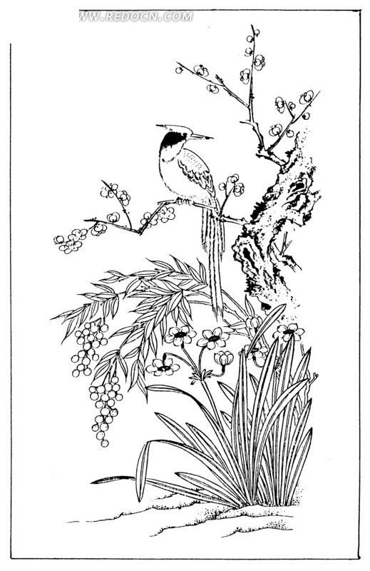 中国古典图案 站在梅花树上的小鸟