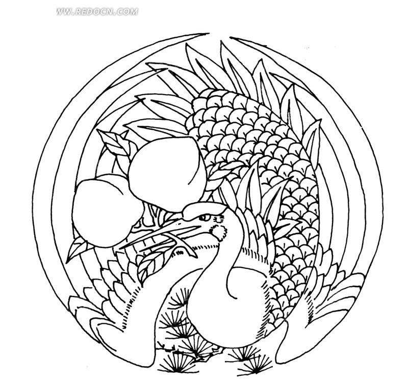 丹顶鹤 图画; 中国古典图案-寿桃凤凰松针矢量图_传统图案;