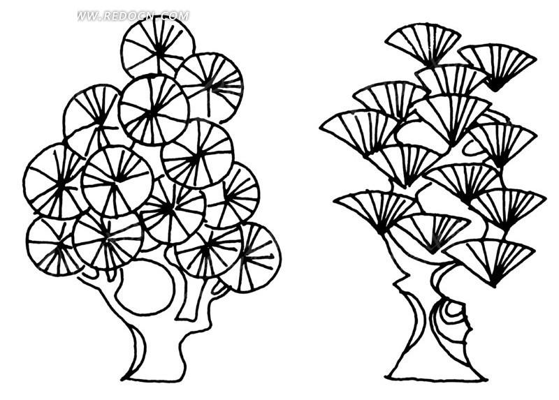 手绘圆形树叶和扇形叶子的树矢量图_传统图案