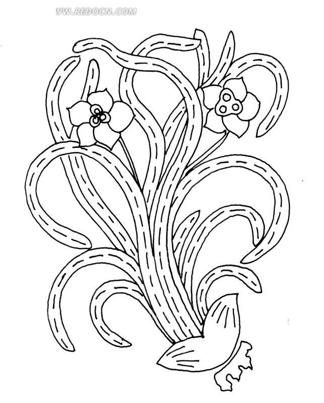 叶子弯曲的开花植物线描图