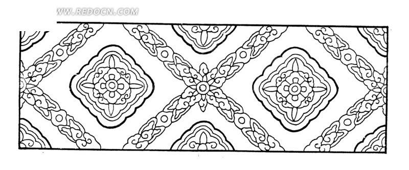 免费素材 矢量素材 艺术文化 传统图案 传统古典菱形矢量花纹素材  请