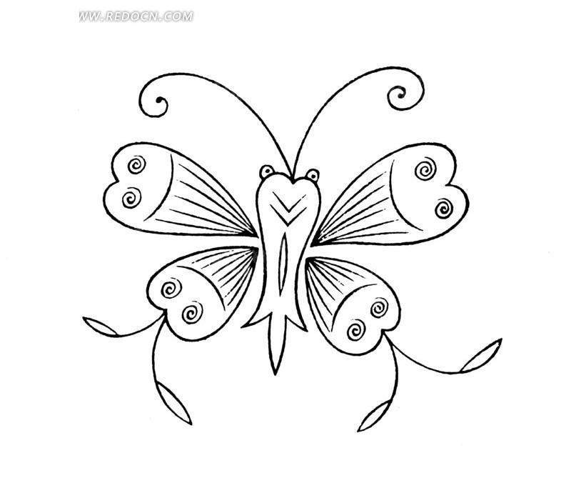 矢量美丽的蝴蝶线条插画图形图片; 中国古典图案-蝴蝶构成的图案矢量图片