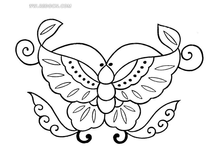 一只蝴蝶白描图图片