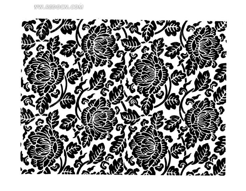 硕大的花朵 植物 叶子 枝条 手绘 线描图 传统图案 矢量素材