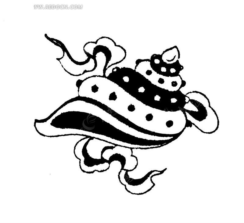 飘带 黑白海螺 手绘 线描图 传统图案 矢量素材