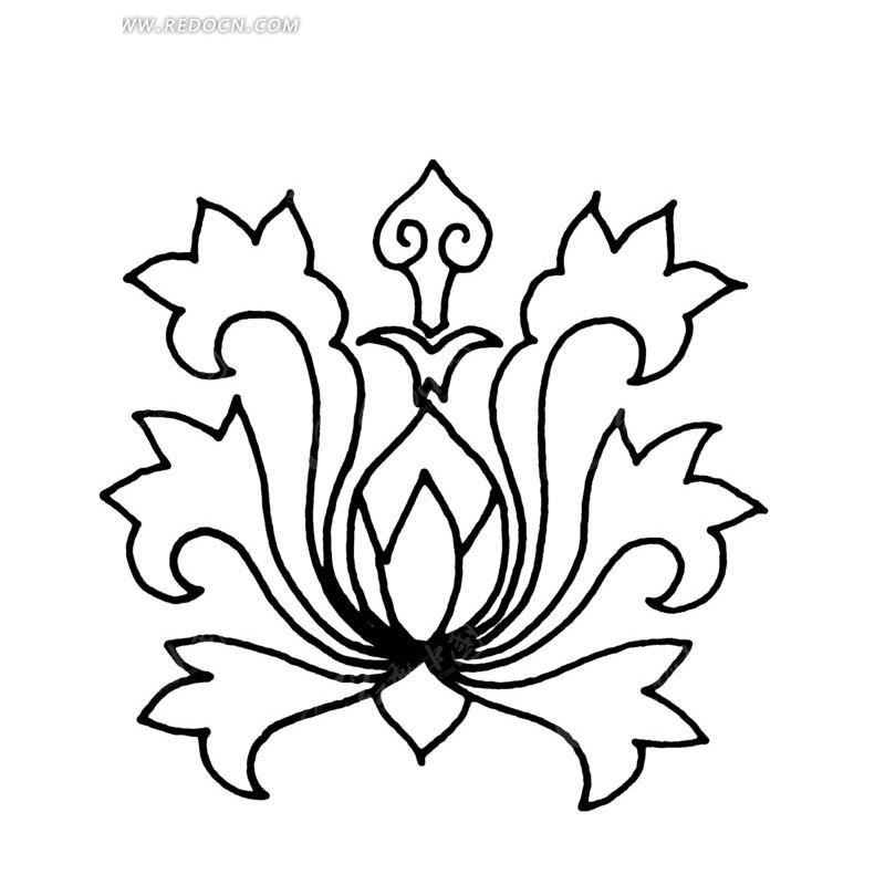 齿状花瓣纹和卷曲纹构成的宝相花朵图案矢量图ai免费