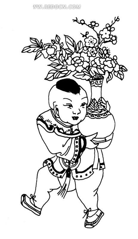 中国古典图案-古代儿童抱花瓶年画