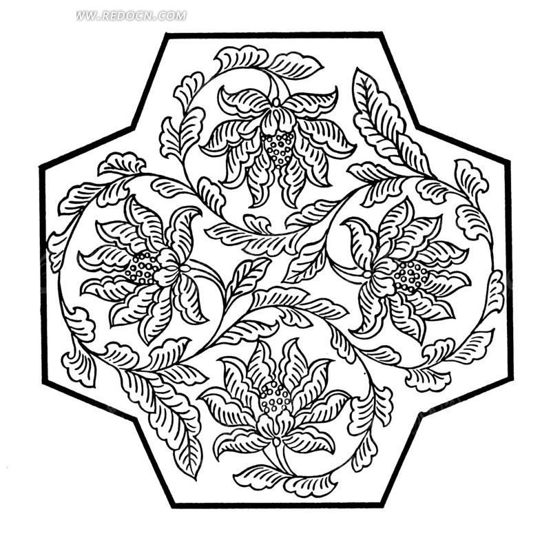 牡丹花 矢量 插画 线描 植物 花朵  传统图案 矢量素材