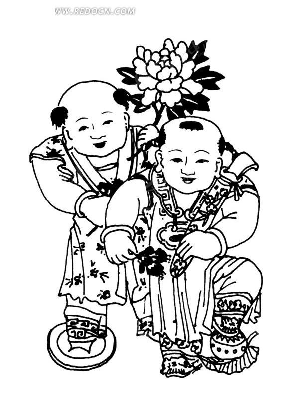 拿着花朵的两个小男孩