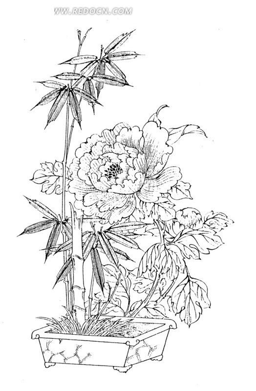 手绘花盆图案简笔画