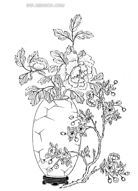 线描画图片花朵