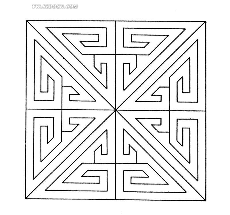 中国古典图案-变形文字构成的方形图案