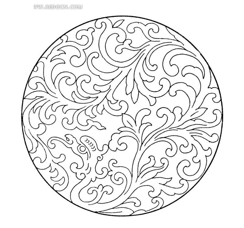 古典圆形卷草纹图案矢量素材