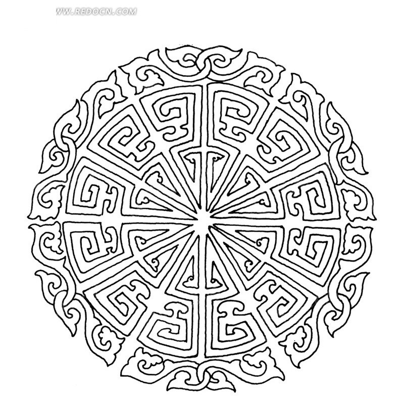 中国古典图案-卷曲纹和变形文字构成的精美圆形图案
