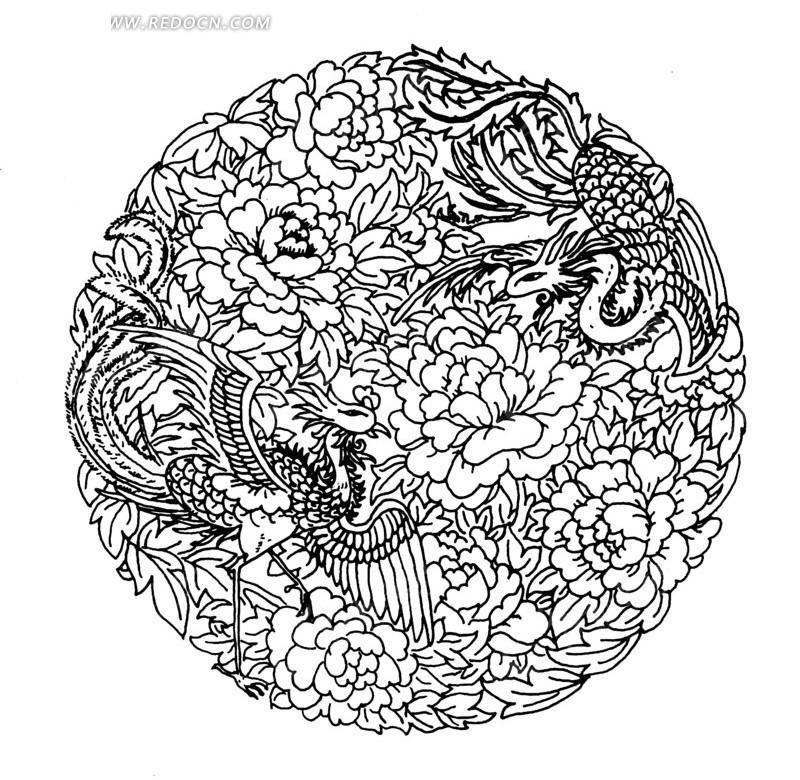 两只凤凰 牡丹花 矢量 插画 线描 传统图案 矢量素材