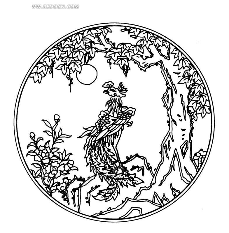 手绘圆形里树下的凤凰