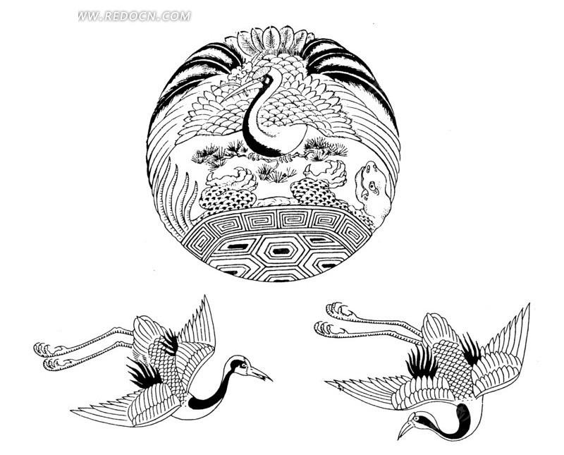 黑白手绘丹顶鹤