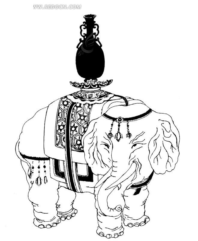 象背 黑色花瓶 器皿 大象 线描图 手绘 传统图案 矢量素材