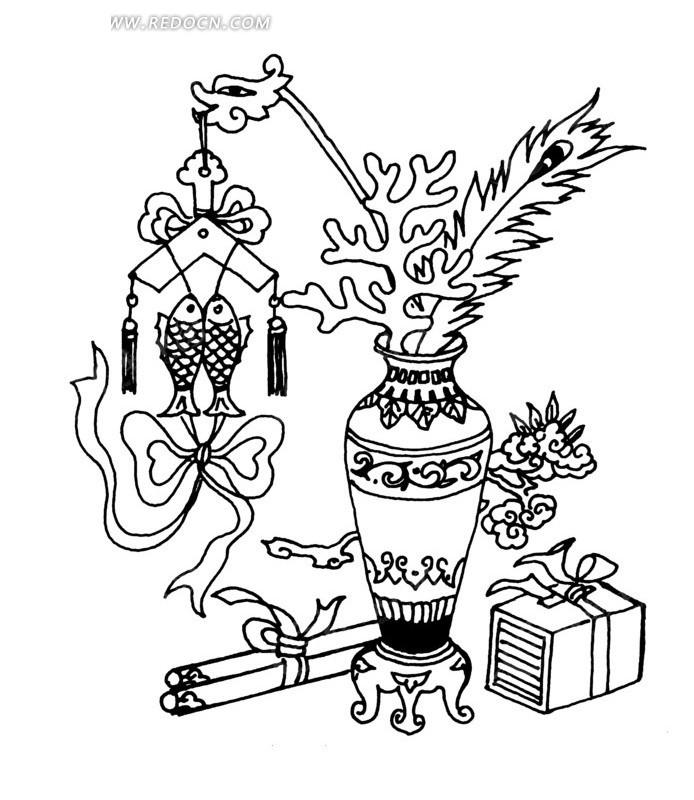 花瓶构成的古代器物图AI免费下载 传统图案素材