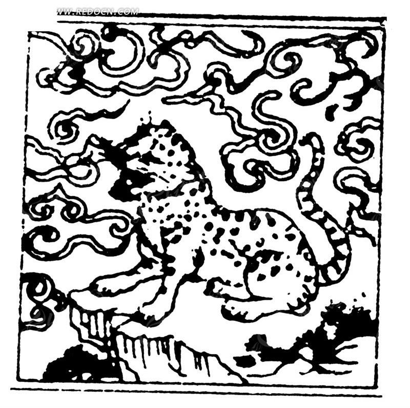 云纹下的一只老虎