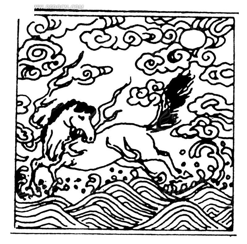 手绘海浪奔腾白马