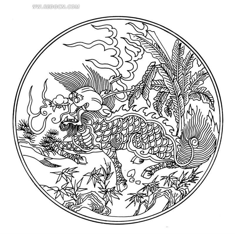 传统麒麟头画法步骤图