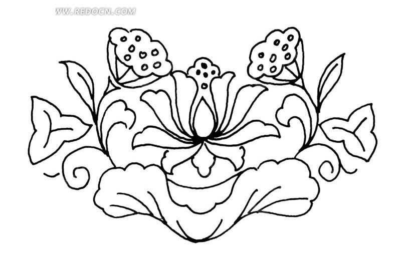 线描莲花矢量图 传统图案
