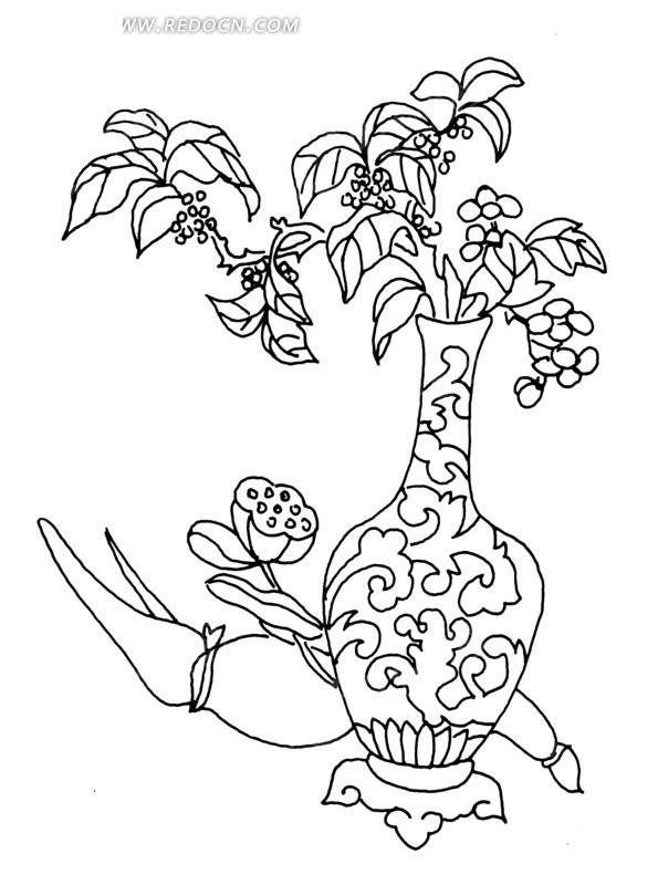 线描图地上的莲蓬和花瓶里的植物AI素材免费下载 编号1535711 红动网