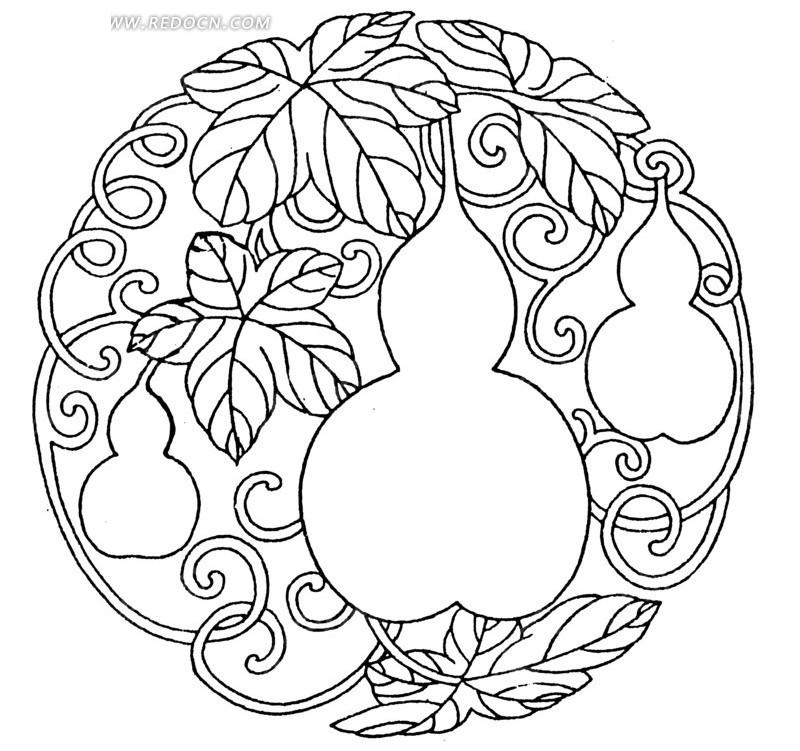 中国古典图案-葫芦叶子卷纹图片