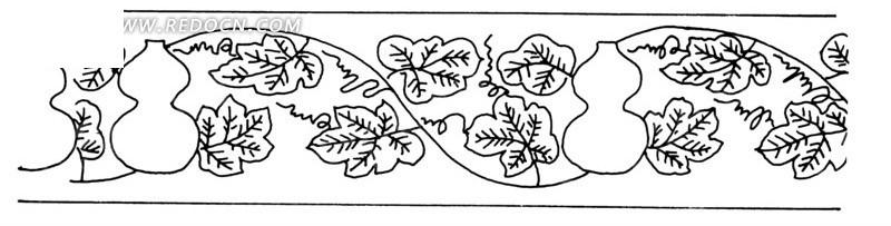 葫芦反与瓜滕二方连续黑白图案