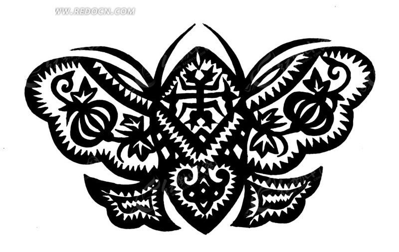 蝴蝶剪纸矢量图_传统图案