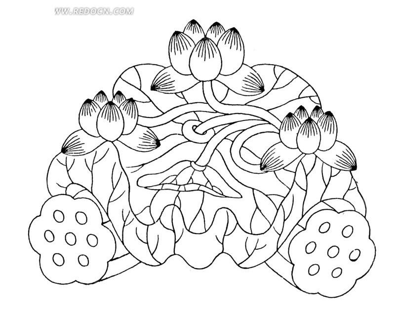 手绘莲藕上荷叶莲花