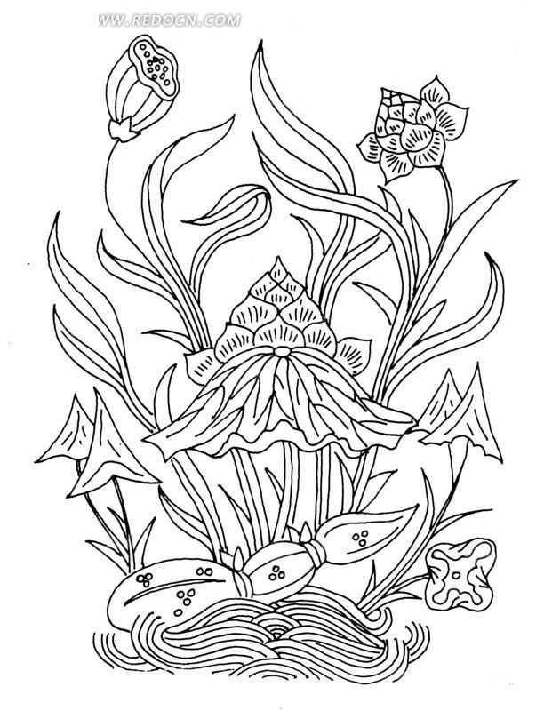 中国古典图案-荷花莲藕水纹