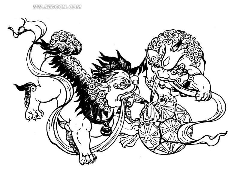 中国古典图案-狮子抢锈球