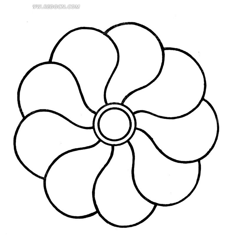 中国古典图案-九朵花瓣构成的花朵图片