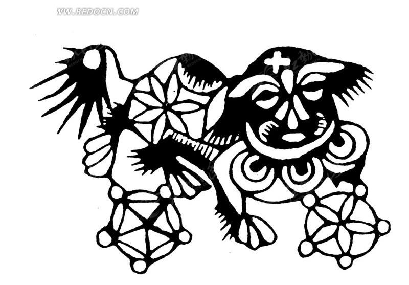 手绘貔貅舞皮球图片