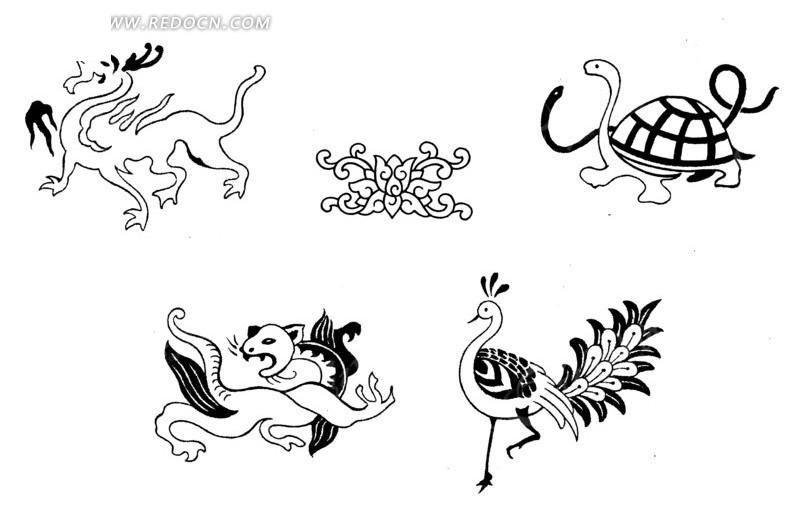 手绘四灵玄武玉佩_传统图案_红动手机版