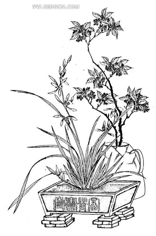 手绘花盆图案手绘