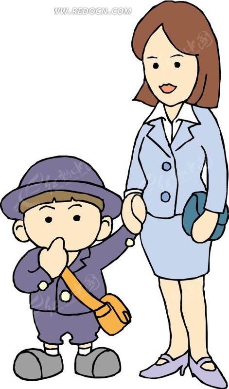 妈妈和背书包的小孩矢量图eps免费下载