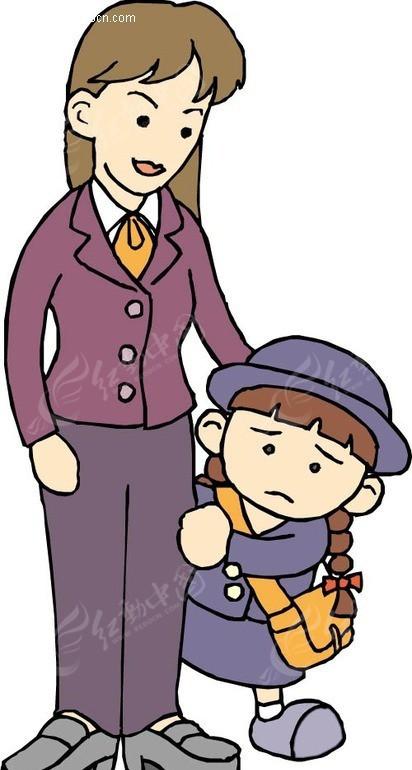 妈妈和背书包的小女孩矢量图