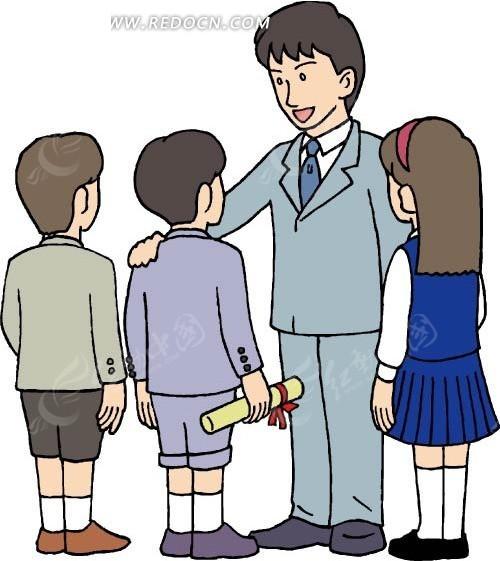 免费素材 矢量素材 矢量人物 卡通形象 老师和学生