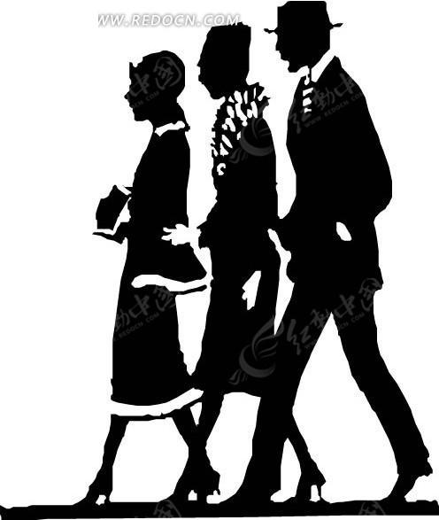 走路的男女人物剪影