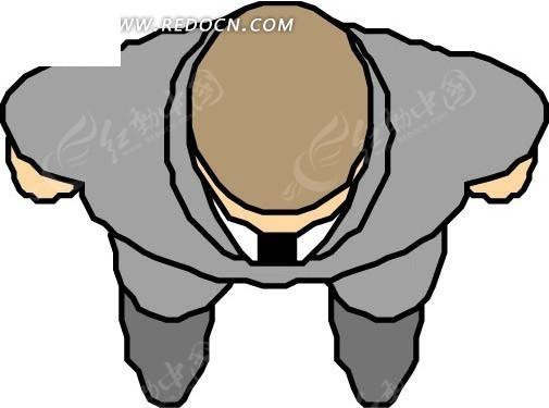 手绘穿着灰色西装的男人矢量图