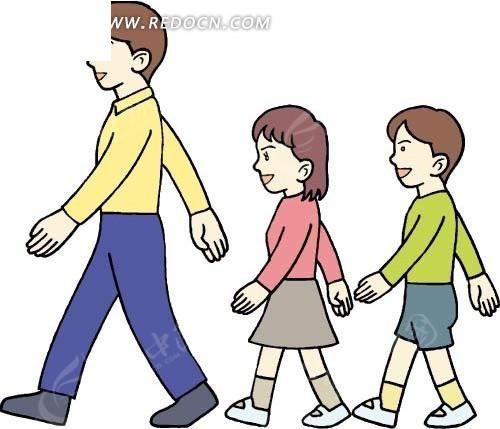 排队 踏步走 大人 小孩 卡通画 插画 手绘 矢量素材 卡通人物 卡通