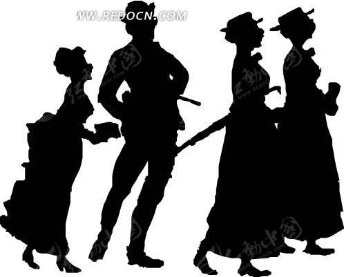 绅士和三个妇女
