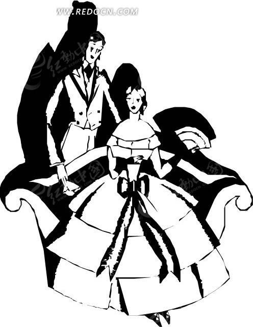 国外黑白戏剧人物图案矢量素材