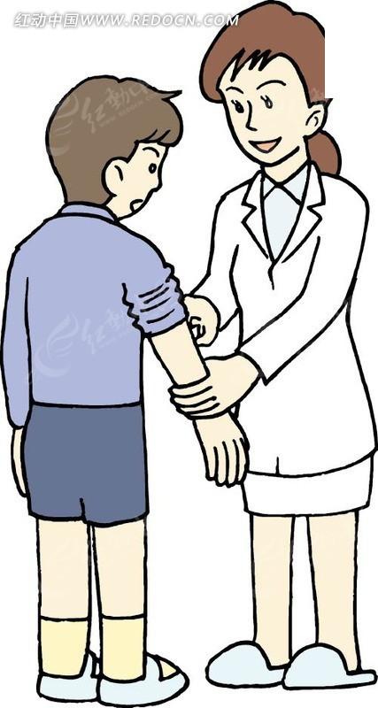 母亲帮儿子卷袖子矢量图_卡通形象